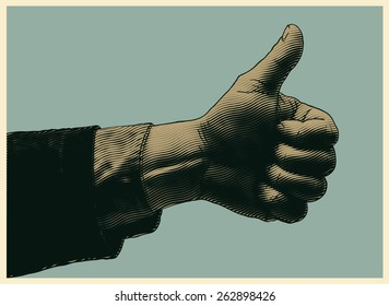 halftone thumbs up symbol. engraved style. vector illustration