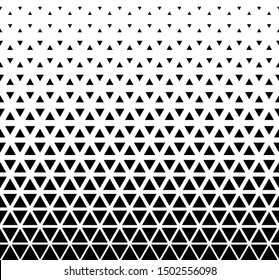 Halftone triangle abstract background. Black and white vector pattern. EPS 10