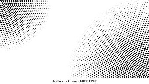 Halftone vector background. Monochrome abstract dotted gradient backdrop. Radial circles