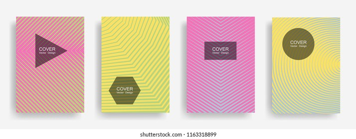 Halftone vector cover template with lines, triangle circle hexagon title places. Vector journal design geometric shape background set. Creative halftone lines hipster banners abstract collection.