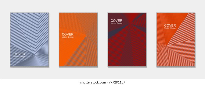 Halftone vector cover templates set with lines graphics. Tech journal design, geometric shape vector background set, trendy halftone lines hipster pattern abstract covers collection. Flat composition.