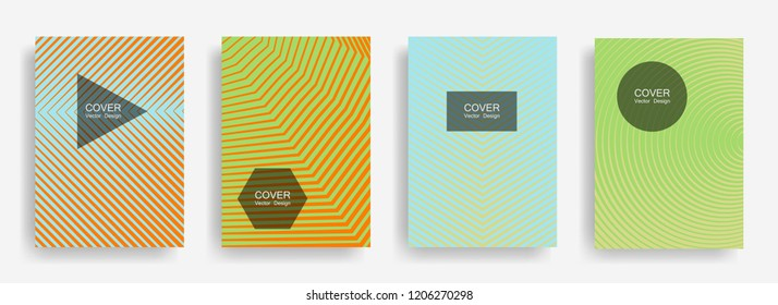 Halftone vector report template with lines, triangle circle hexagon title places. Vector journal design geometric shape background set. Techno halftone lines hipster pattern abstract collection.