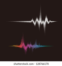 halftone vector sound waves. Music round waveform background. You can use in club, radio, pub, party, DJ, concerts, recitals or the audio technology advertising background.