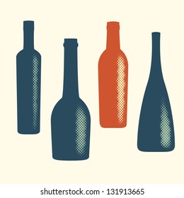 Halftone vector wine bottle elements. Abstract digital blob (dotted design series)