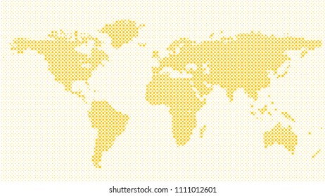 Halftone world map background - vector graphic with dots