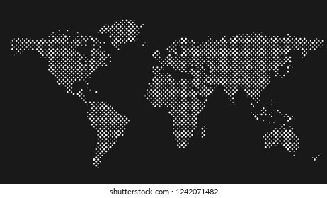 Halftone world map background - vector graphic design with dots