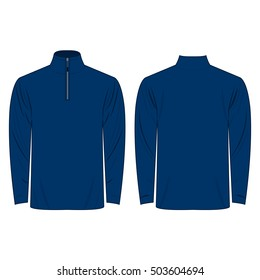 Half-Zipper long sleeve blue Shirt isolated vector on the white background