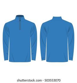 Half-Zipper long sleeve light blue Shirt isolated vector on the white background