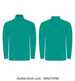 Half-Zipper long sleeve teal Shirt isolated vector on the white background