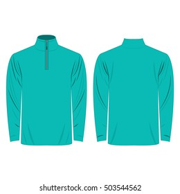 Half-Zipper long sleeve turquoise Shirt isolated vector on the white background