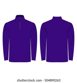 Half-Zipper long sleeve violet Shirt isolated vector on the white background