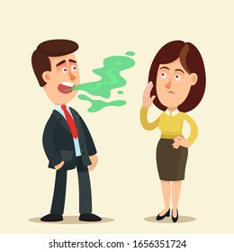 Halitosis, bad breath. A man talking to a woman, man has very bad breath. Woman covers her nose with hand. Oral care, dental hygiene. Vector illustration, flat design, cartoon style, isolated.
