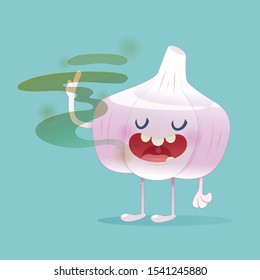 Halitosis concept of cartoon garlic with bad breath on the green background   illustration and vector design