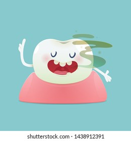 Halitosis concept of cartoon tooth with bad breath on the green background -  Total health and Dental problems - illustration and vector design