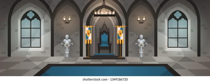 Hall castle. Medieval palace royal decor furniture interior dining table throne kingdom luxury room game cartoon, vector illustration