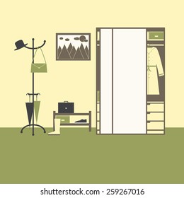 Hall interior with big mirror closet with drawers, boxes, coat, hanger with hat, bag, umbrellas, shelving with box, gumshoe, suitcase, high boot on olive floor, painting with sun, clouds and mountains