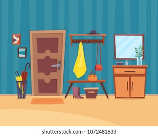 Hall interior with furniture with door. Flat cartoon style vector illustration.