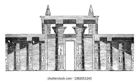 Hall Section of the Great Temple at Abu Simbel, archaeological site, cross section, Egyptian architecture, entrance hall, ipsamboul, Nubian monument, rock temple, unesco world heritage site,  vintage