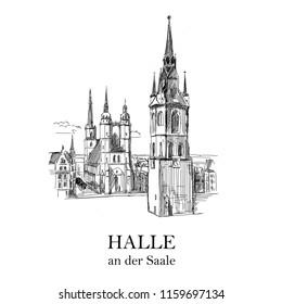 Halle an der Saale, Marktplatz. Vector hand drawing sketch