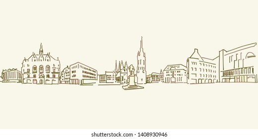 Halle Saale drawing, brown colored version for Apps, Print or web backgrounds