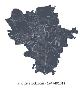 Halle, Saale map. Detailed vector map of Halle, Saale city administrative area. Cityscape poster metropolitan aria view. Dark land with white streets, roads and avenues. White background.