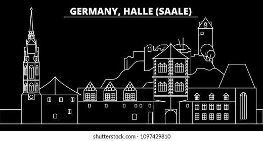 Halle Saale silhouette skyline. Germany - Halle Saale vector city, german linear architecture, buildingtravel illustration, outline landmarks. Germany flat icon, german line banner
