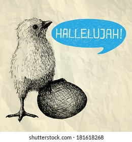 HALLELUJAH - Easter illustration card with hand drawn chick with egg and bubble speech on crumpled paper background