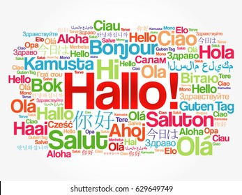 Hola hello greeting spanish word cloud stock vector royalty free hallo hello greeting in german word cloud in different languages of the world m4hsunfo