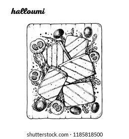 Halloumi hand drawn vector illustration. Greek cuisine. Linear graphic. Food sketch.
