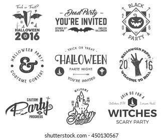 Halloween 2016 party label templates with scary symbols - zombie hand, witch hat, bat, pumpkin and typography elements. Use for party posters, flyers, invitations. On t shirt, tee and other identity.
