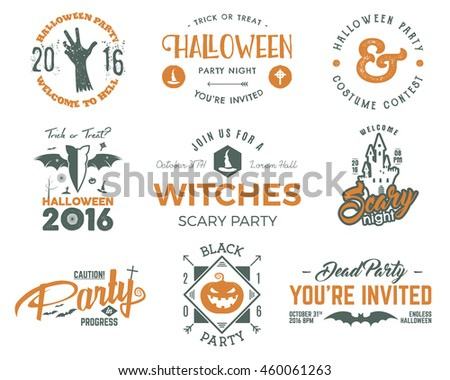 halloween 2016 party labels templates scary stock vector royalty