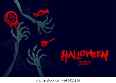 Halloween 2017 background template set, skeleton monster hand with candy concept design and halloween 2017 text illustration isolated on dark blue background, with copy space