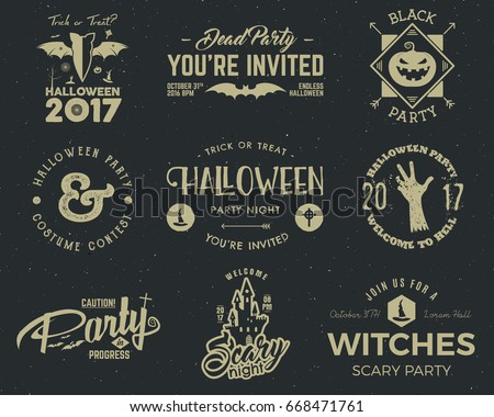 halloween 2017 party label templates scary stock vector royalty