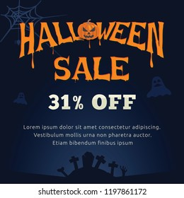 halloween 31 percent sale poster. Halloween is a celebration observed in a number of countries on 31 October, the eve of the Western Christian feast of All Hallows' Day.