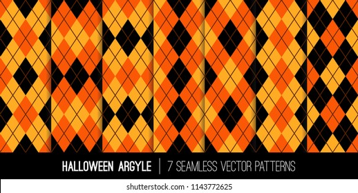 Halloween Argyle Seamless Vector Patterns in Orange, Black, Yellow and Brown. Traditional Fall Fashion Textile Prints. Repeating Pattern Tile Swatches Included.