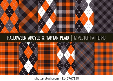 Halloween Argyle and Tartan Plaid Vector Patterns. Traditional Fall Fashion Prints in Orange, Black, Gray and White. Repeating Pattern Tile Swatches Included.