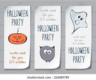 Halloween attributes with stylized funny sketched pumpkin, owl and ghost. Festive design for invitation cards, banner, sheets, stickers and poster. lettering design. festive halloween elements