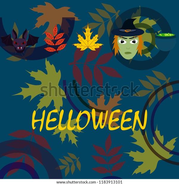 Halloween autumn fallen leaves mask witches bat vector
