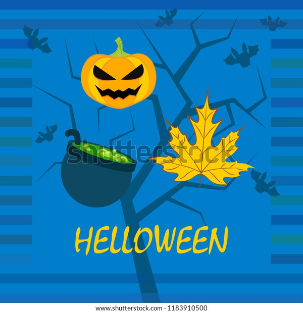 Halloween autumn pumpkin fallen leaf witch cauldron vector