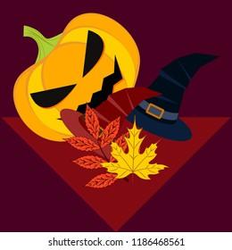 halloween autumn pumpkin fallen leaves hubcap witch vector
