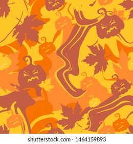 Halloween autumn vector seamless abstract patern with maple leaves and evil pumpkins. For textile, wallpaper, covers and print