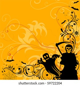 Halloween background with bat, ghost, element for design, vector illustration