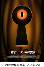 Halloween background by vector.Eye of pumpkin peek through the keyhole.