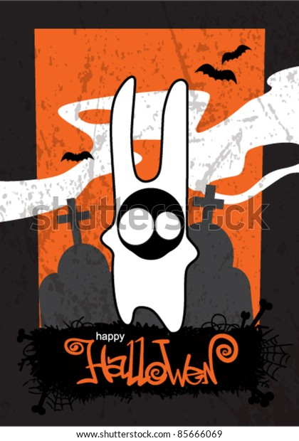 Halloween background with cartoon monster bunny.