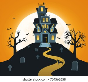 Halloween background with castle and  full moon, tombs, trees,  bats.