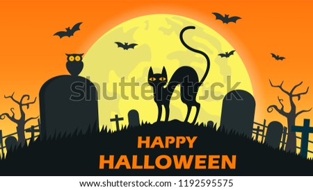 Halloween background with cat devil in graveyard and the full moon - Vector illustration