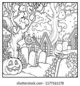 Halloween background cemetery and crypts with Halloween pumpkins outlined for coloring page