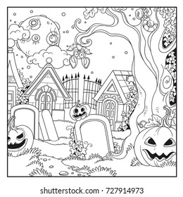 Halloween background cemetery and crypts with pumpkins outlined for coloring page