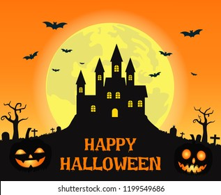 Halloween background with creepy castle and smile pumpkin devil on the full moon - Vector illustration