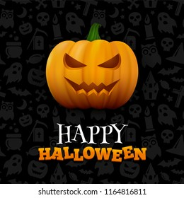 Halloween background with creepy pattern. Vector poster with scary face orange pumpkin and modern lettering text Happy Halloween.